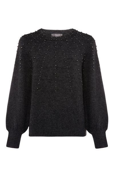 Black Pearl Embellished Sweater