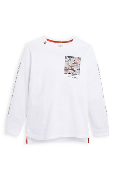 Older Boy White Bronx Long Sleeve T-Shirt