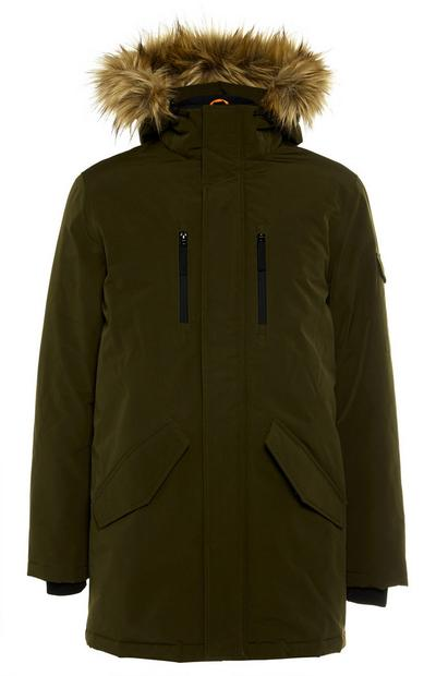 Khaki Plain Fur Trimmed Hooded Long Badged Parka