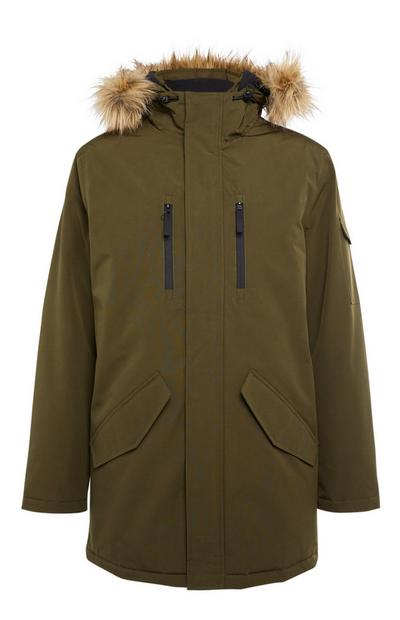 Lang kaki parka met badge