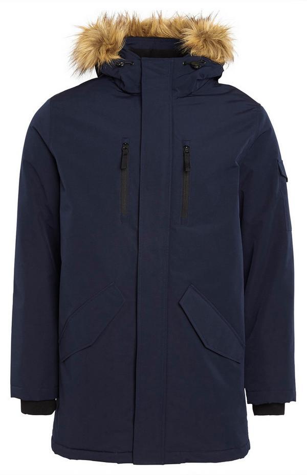 Plain Navy Long Parka Coat