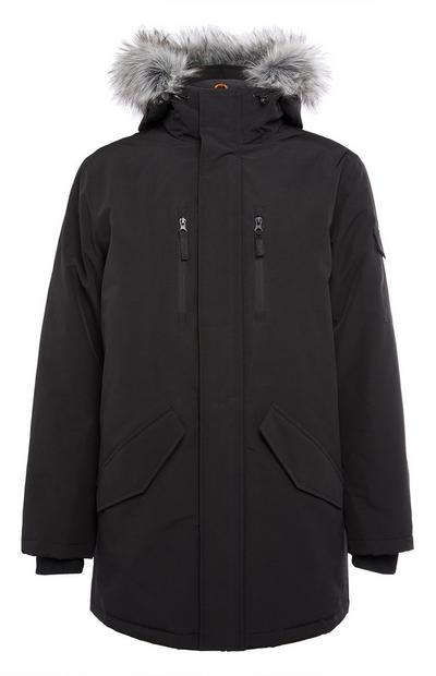 Black Long Badged Parka