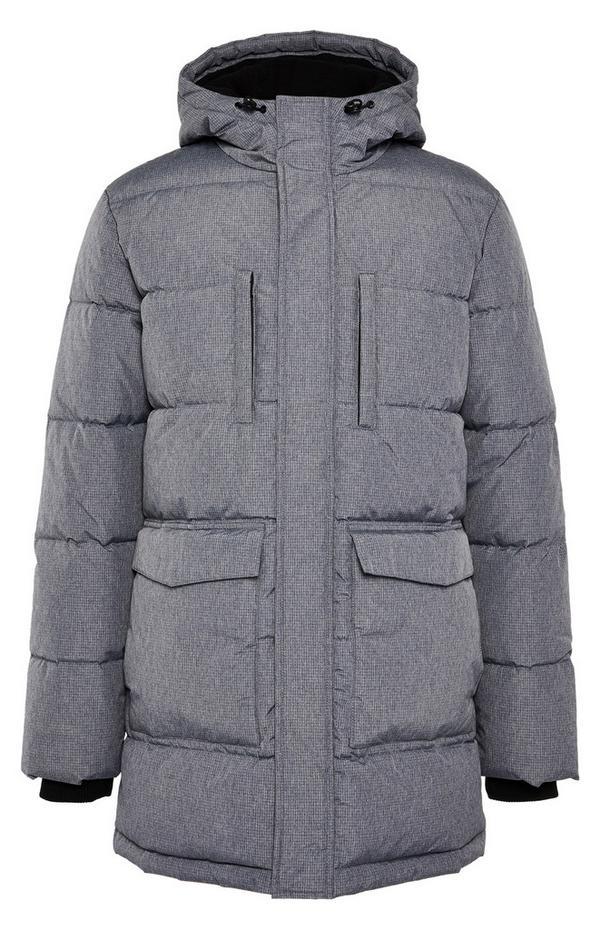 Grey Long Puffa Parka Coat