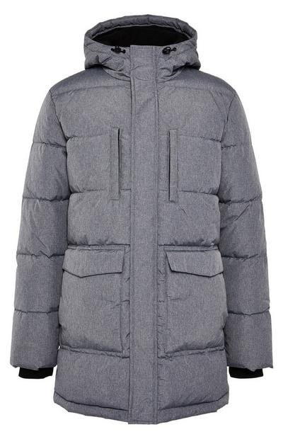 Grey Long Puffa Parka Coat