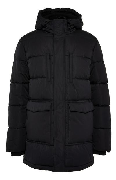 Black Long Puffa Parka Coat