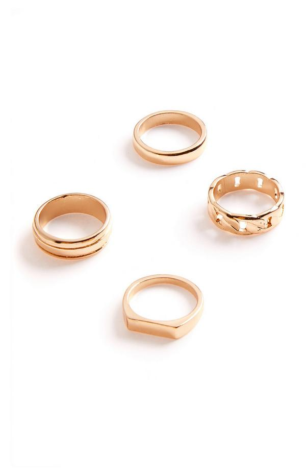 4-Pack Chunky Goldtone Rings