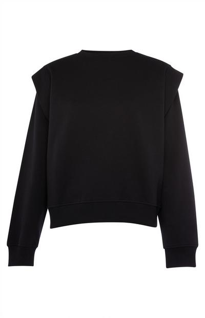 Black Cable Mutton Sleeve Crew Neck Top