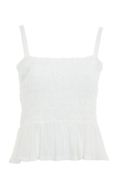 White Shirred Tie Strap Peplum Vest Top