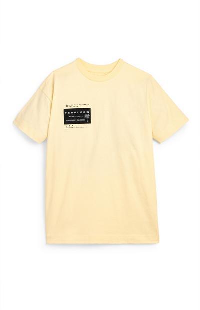 T-shirt jaune avec écusson imprimé ado