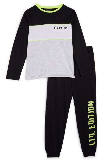Pyjama anthracite et noir à message Ltd Edition ado