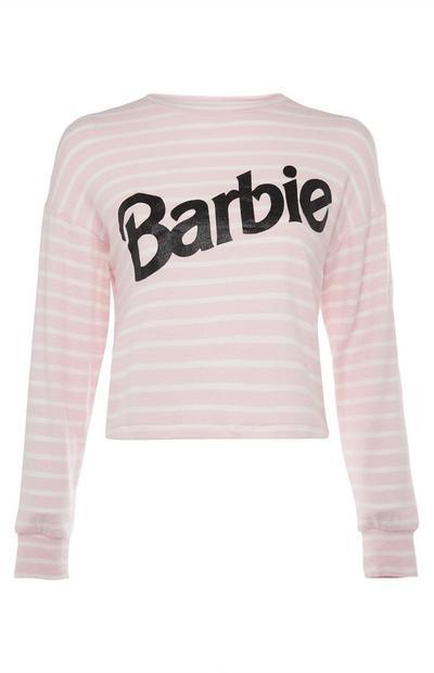 Rožnato-bela črtasta majica Barbie