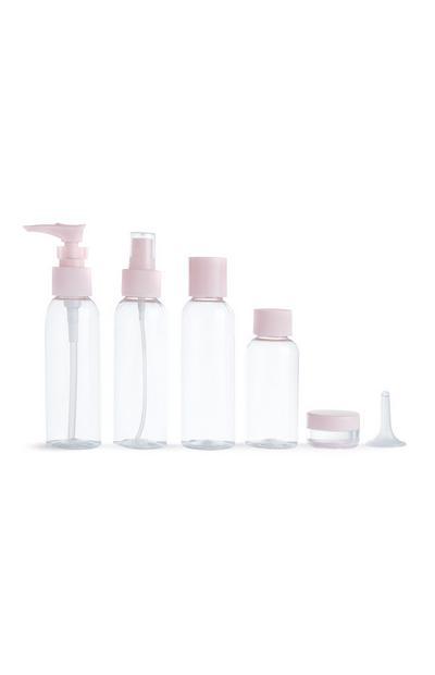 6-teiliges transparentes Reiseflaschenset mit rosafarbenen Verschlüssen