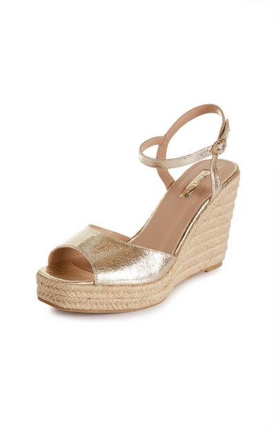Gold Single Strap Wedge Sandals