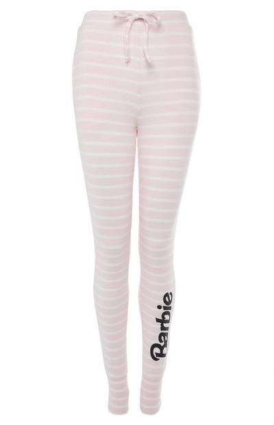 Pink and White Stripe Barbie Leggings