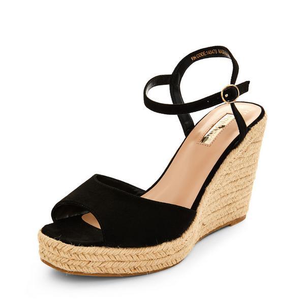 Black Single Strap Wedge Sandals