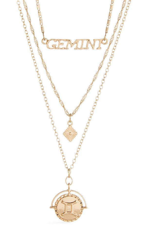 Zlata trislojna ogrlica z besedilom in horoskopskim znamenjem