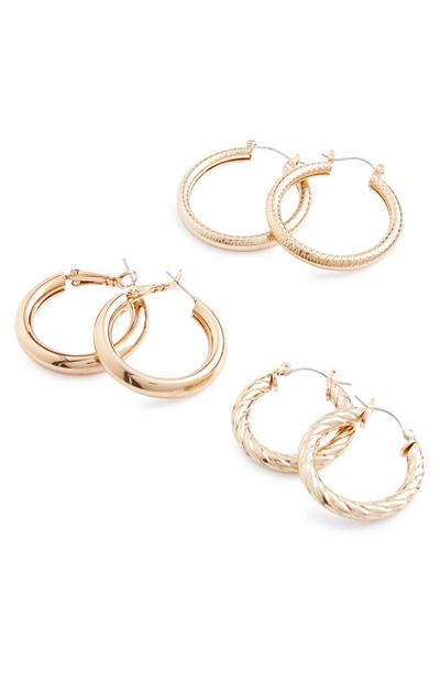 Gold Chunky Hoops 3 Pack