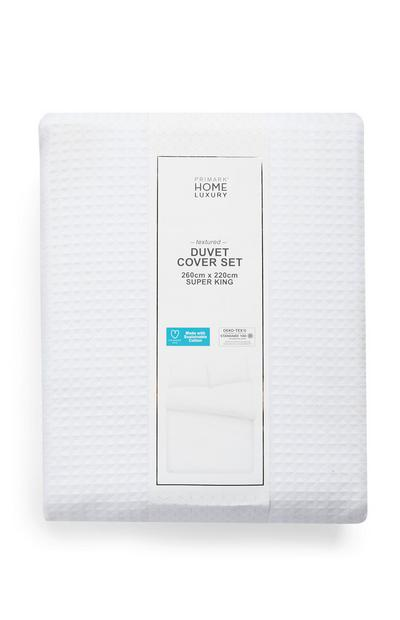 White Waffle Super King Size Duvet Cover Set