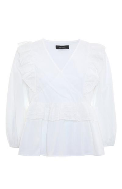 White Broderie Frill Wrap Blouse
