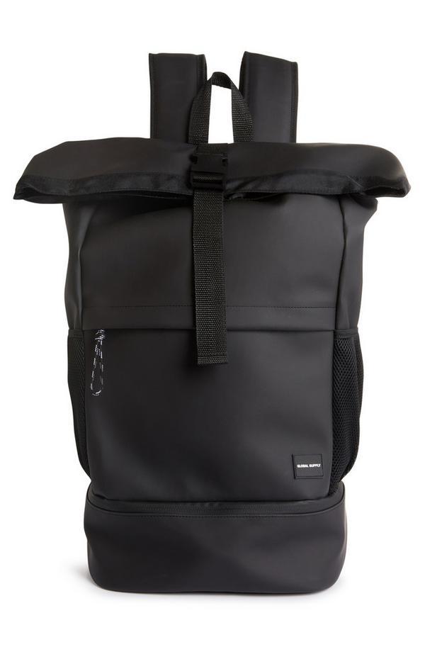 Schwarzer Premium-Rucksack mit eingerollter Öffnung