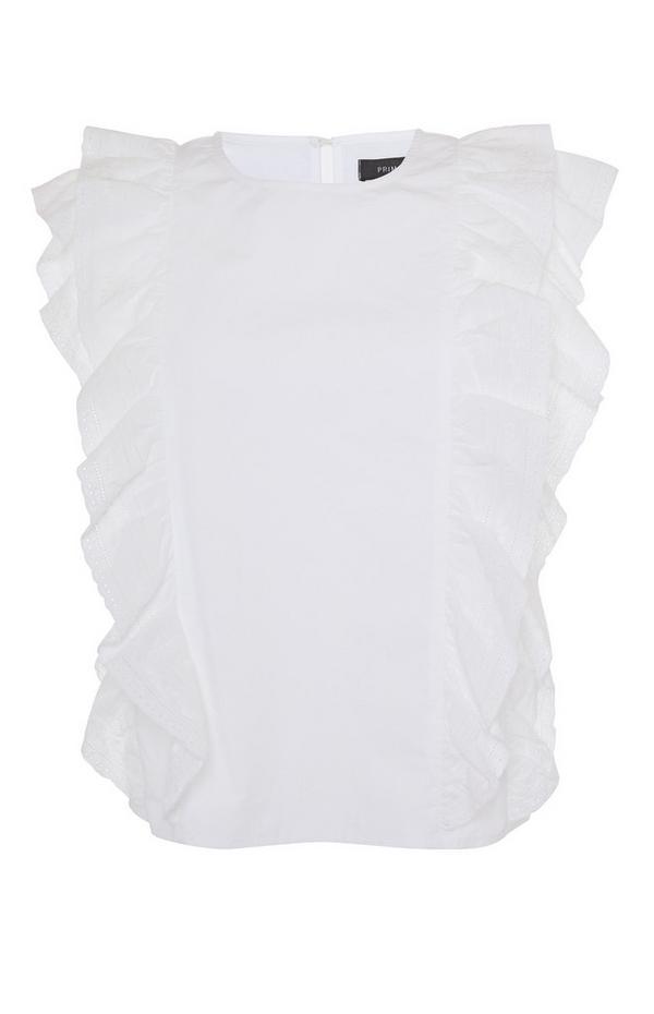 White Sleeveless Ruffle Blouse