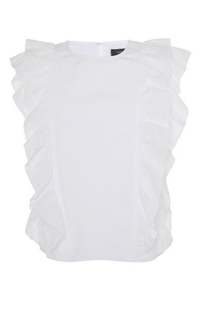 White Sleeveless Ruffle Blouse