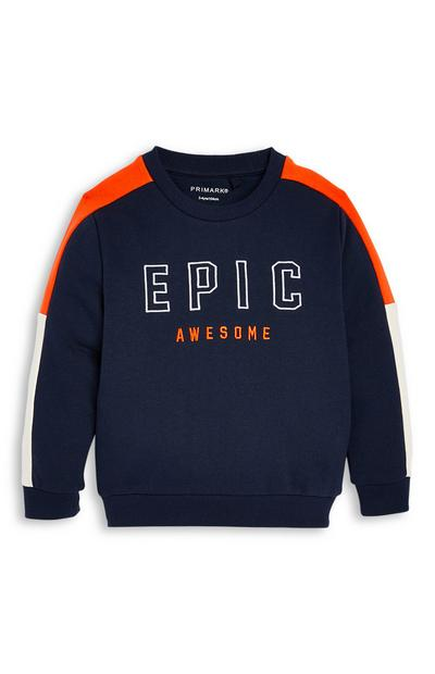 Younger Boy Epic Embroidered Crew Neck Sweater