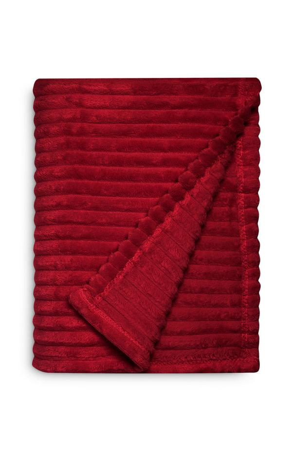 Wine Small Soft Ribbed Throw
