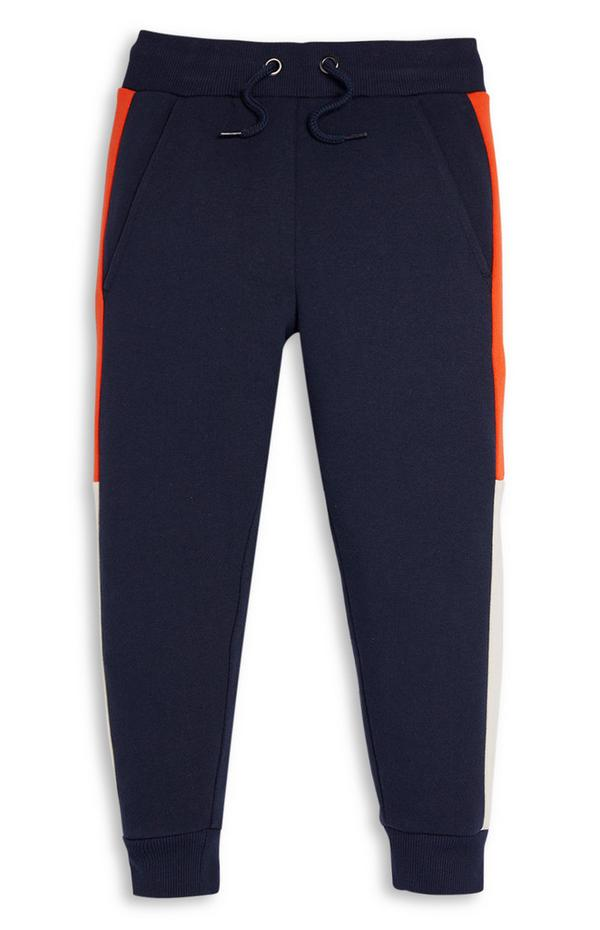 Marineblau-orangefarbene Jogginghose im Farbblock-Design (kleine Jungen)