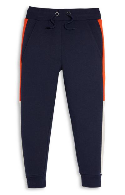 Younger Boy Navy and Orange Colourblock Joggers