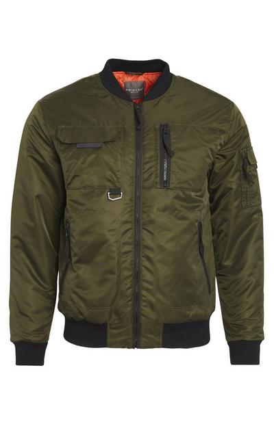 Khaki Utility Zip Up Jacket