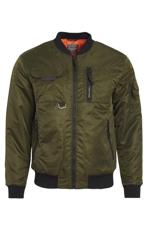 Olive Utility Zip Jacket