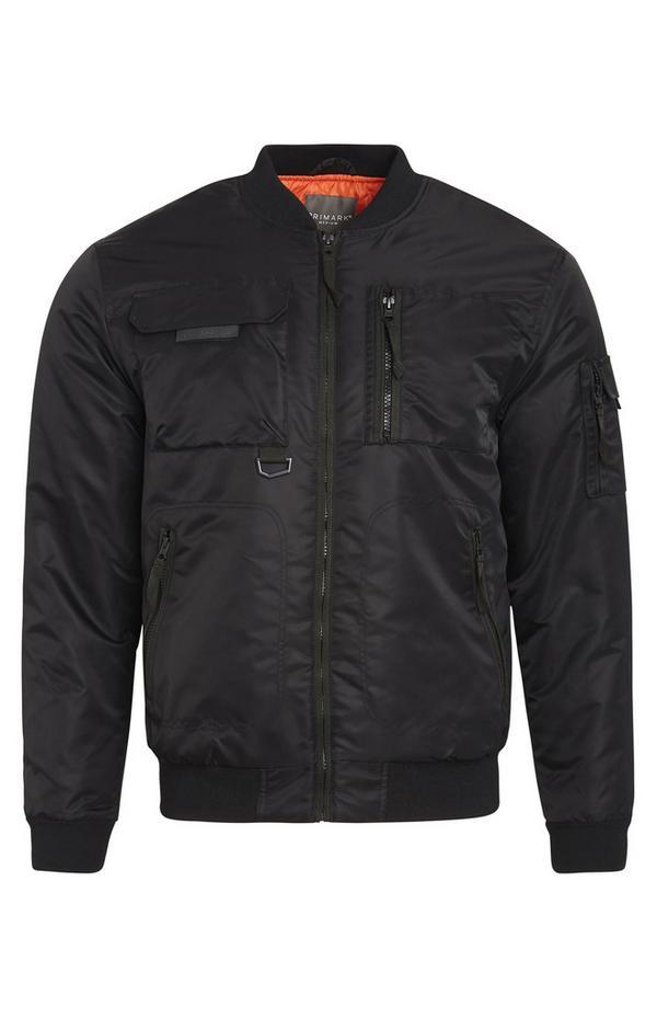 Black Utility Zip Up Jacket