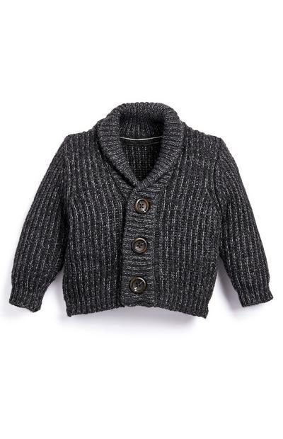 Baby Boy Gray Knit Cardigan