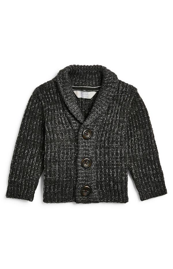 Baby Boy Charcoal Shawl Collar Cardigan