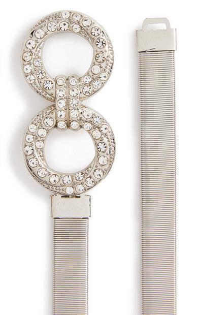 Silvertone Stretch Diamante Infinity Belt