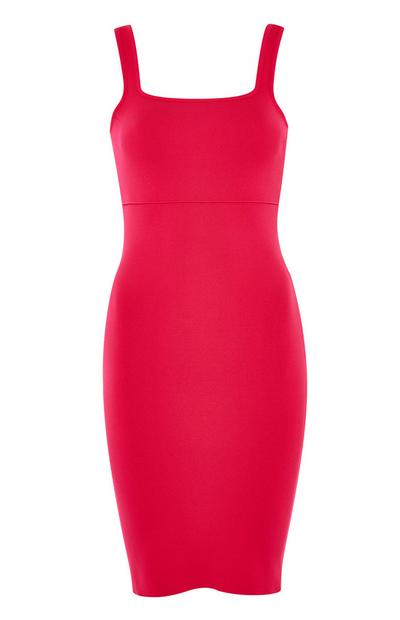 Pink Compact Square Neckline Dress
