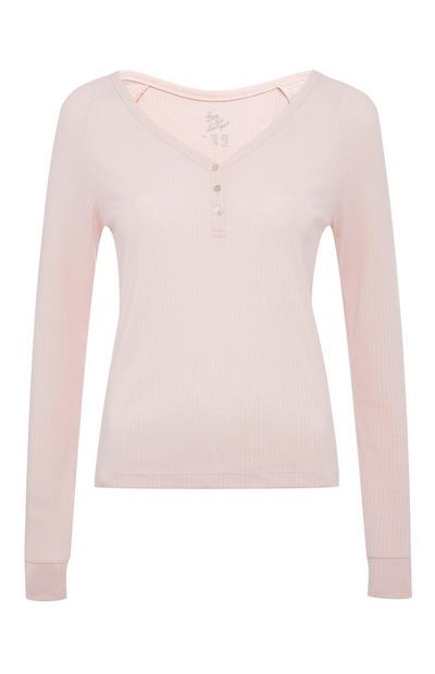 Pink Ribbed Button Up Top