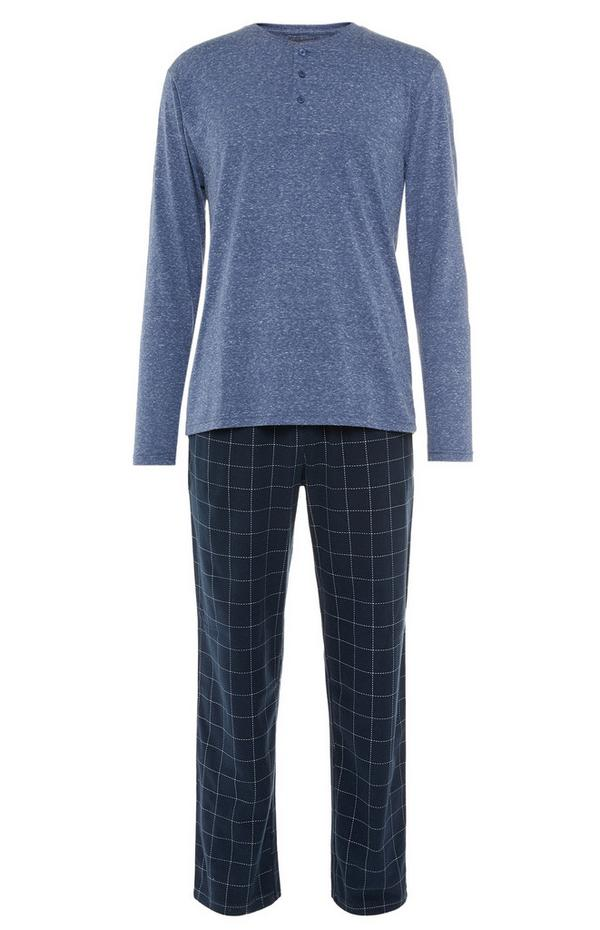 Pyjama bleu marine et bleu ultra-doux avec haut à col tunisien