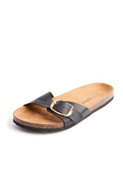 Black Single Strap Footbed Sandals