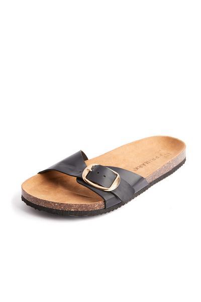 Sandali neri con cinturino singolo e soletta