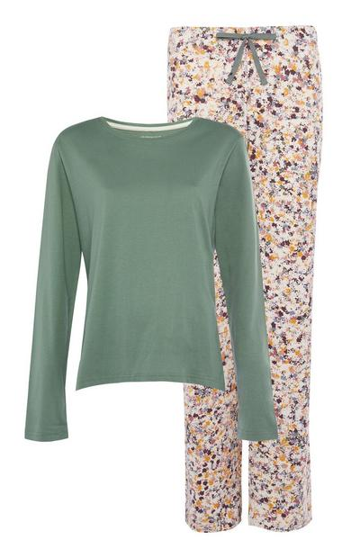 Grünes Langarm-Pyjamaset
