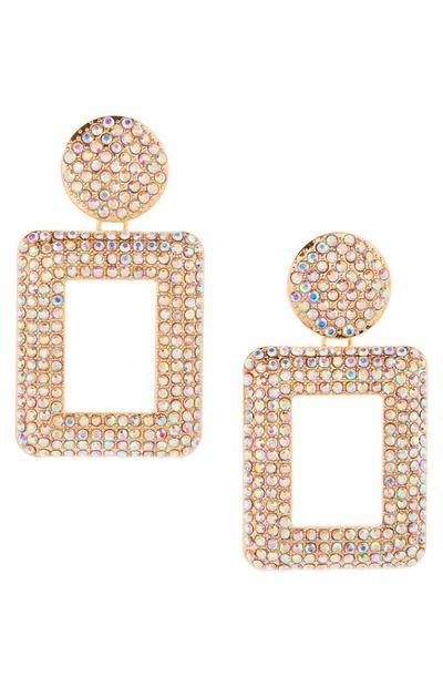 Square Gem Stone Detail Drop Earrings