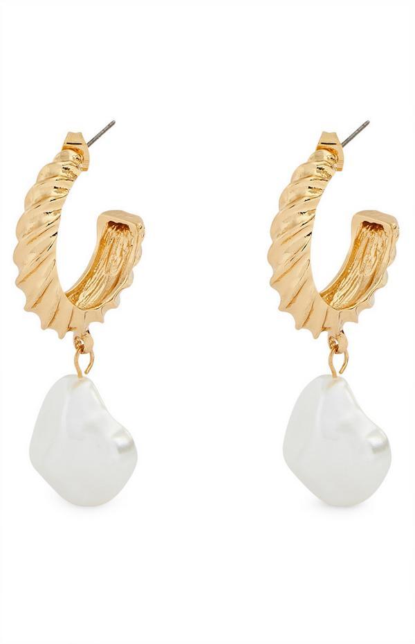 Goldtone Pearl Hoop Drop Earrings