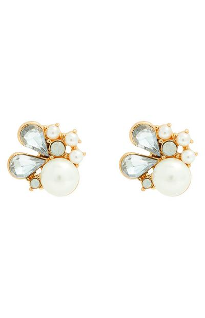 Pearl Diamonte Stone Cluster Earrings