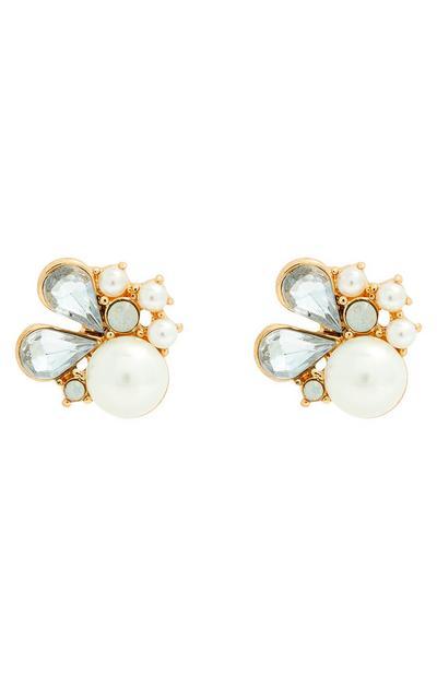 Pendientes de botón con strass, pedrería y perlas