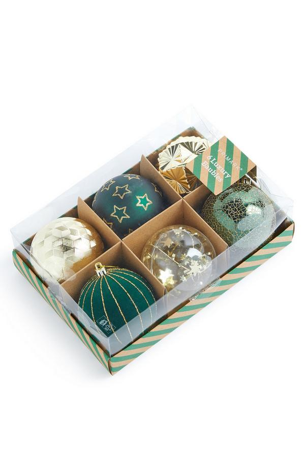 Green Luxury Baubles 6 pack