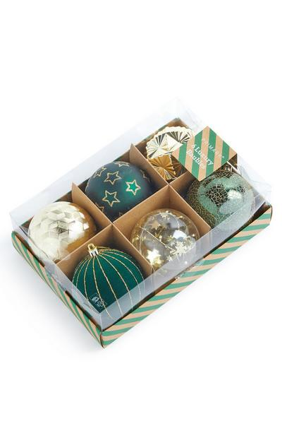 6-Pack Green Luxury Ornaments
