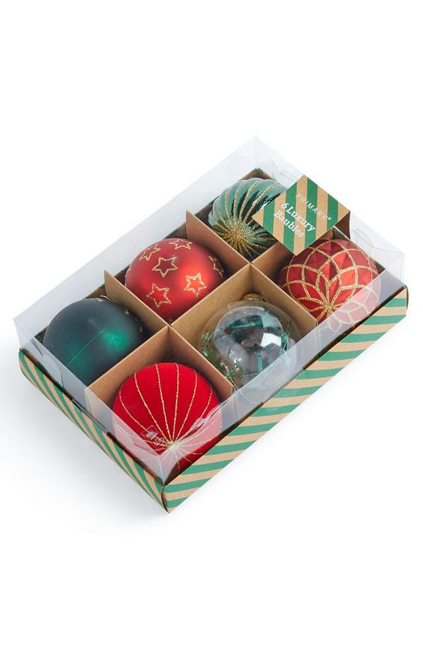 Red and Green Luxury Baubles 6 pack