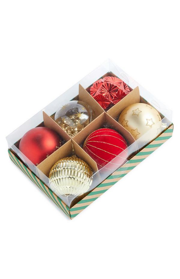 Gold Luxury Baubles 6 pack